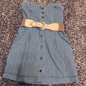 Forever 21 Blue & White Striped Denim Dress